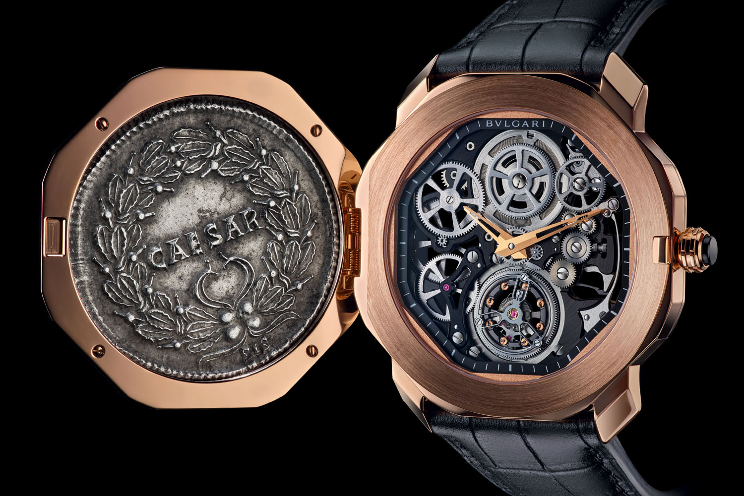 часы с монетой Bulgari Octo Finissimo Tourbillon Monete