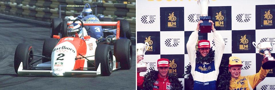 22-летний Мика Хаккинен и 21-летний Михаэль Шумахер Гран При Макао Формулы-3 '90