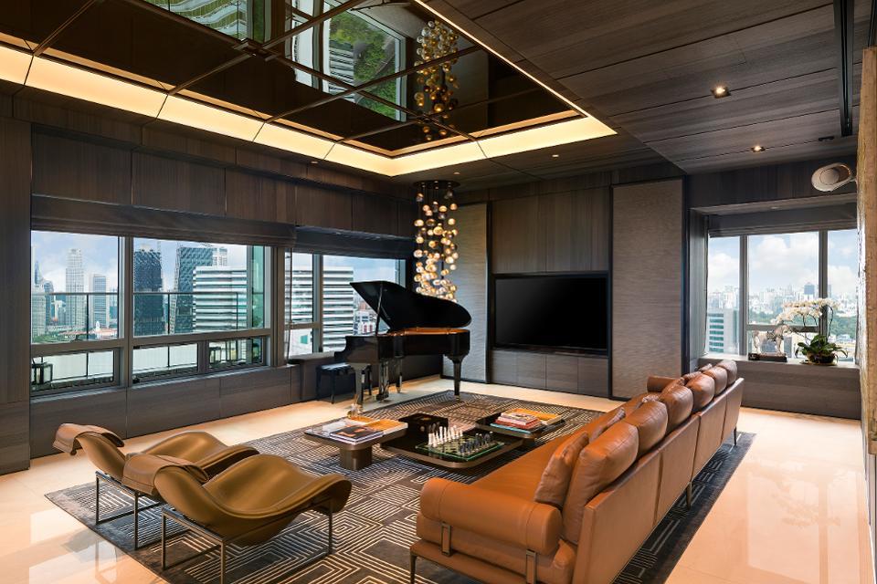 гостинная пентхауса в сингапуре