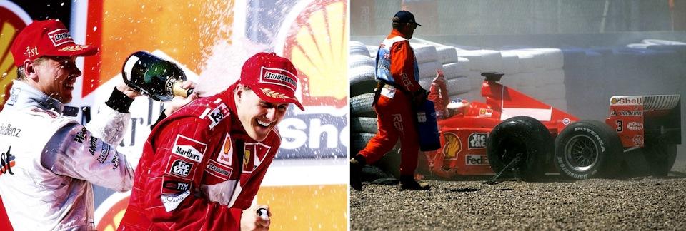 В первой половине сезона 1999 г. Мика и Михаэль регулярно делили призовое шампанское