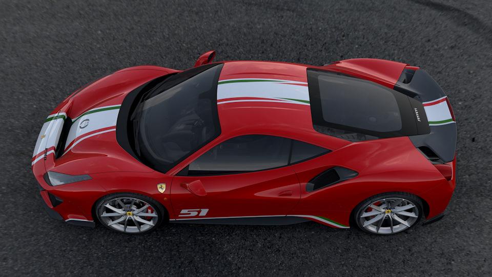 Ferrari 488 Pista вид сбоку