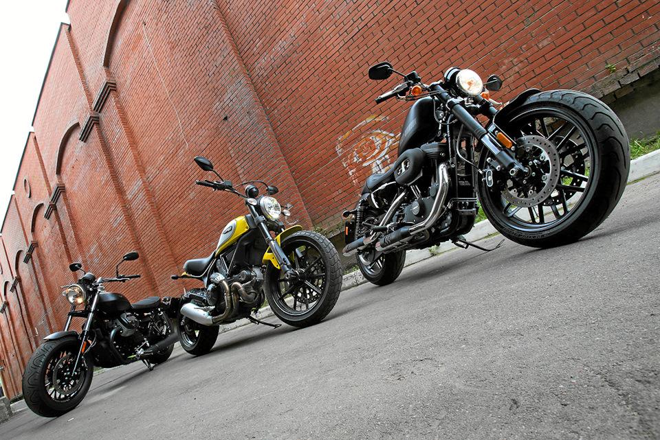 Moto Guzzi V9 Bobber, Ducati Scrambler и Harley-Davidson Roadster