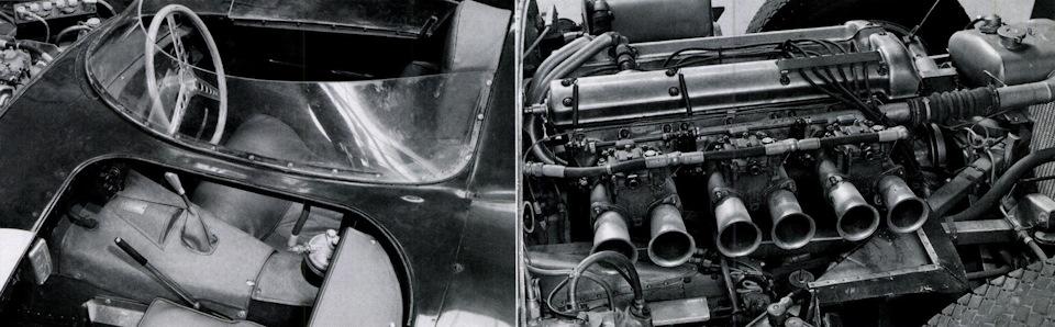 Слева – для усиления жесткости кузова в центральной части были сделаны отдельные вырезы для водителя и теоретического пассажира. Справа – двигатель серии XK.