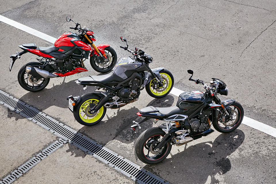 Suzuki GSX-S750A, Yamaha MT-09 и Triumph Street Triple RS