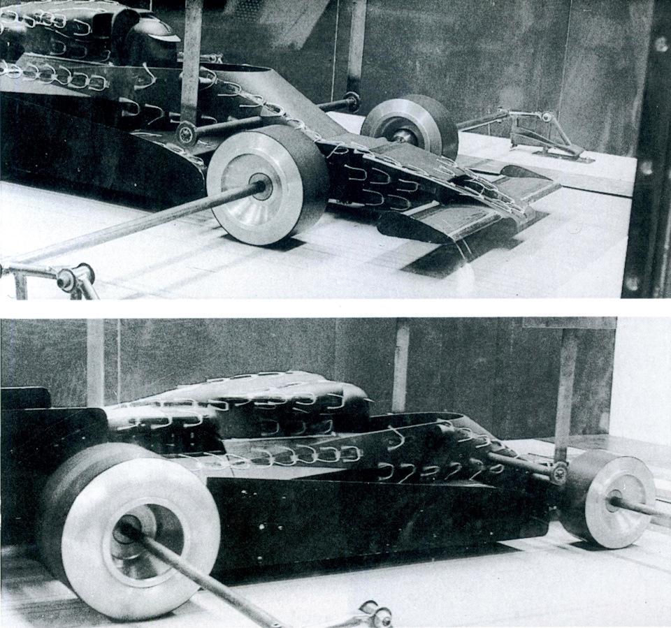 Макет Lotus 78 в аэродинамической трубе. Осень 1975 года