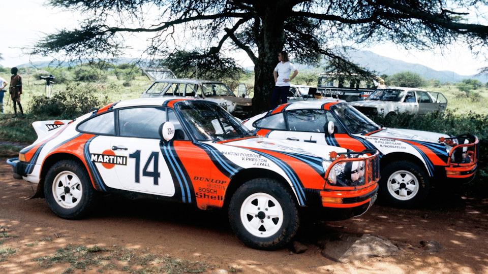 Porsche 911 SC экипажей Вик Престон/Джон Лайл (#14) и Бьорн Вальдегард/Ханс Торсзелиус (#5) на «Ралли Сафари» 1978