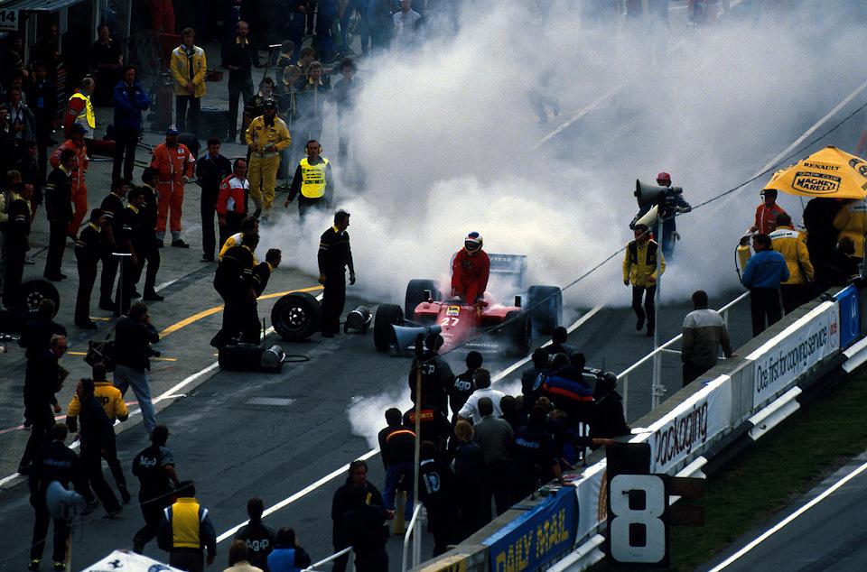 Гран При Европы 1985 года. Надежды Микеле Альборето на титул сгорают вместе с двигателем Ferrari