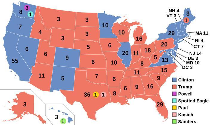 Карта коллегии выборщиков для президентских выборов 2016 года в США
