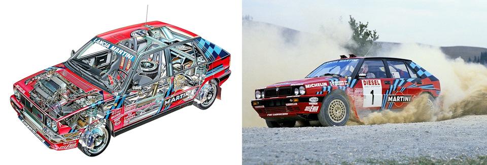 Слева – Lancia Delta HF Integrale 16V; справа – Массимо Биазон и Тициано Сивьеро на пути к победе в дебютном для автомобиля «Ралли Сан-Ремо» '89.