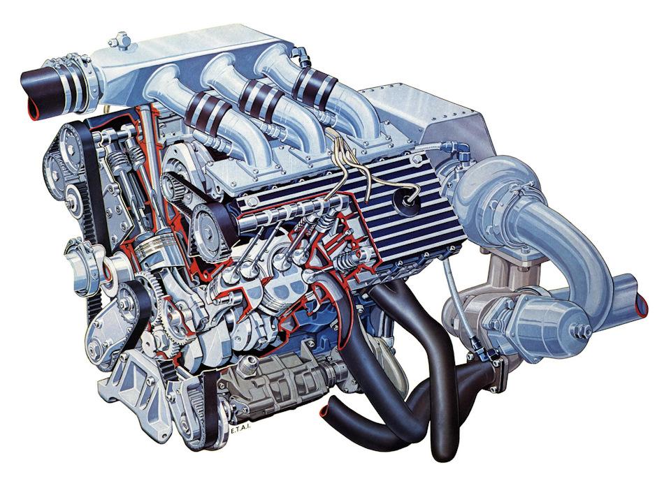 Двигатель Renault-Gordini EF1 с турбокомпрессором Garrett (показан без интеркулера)