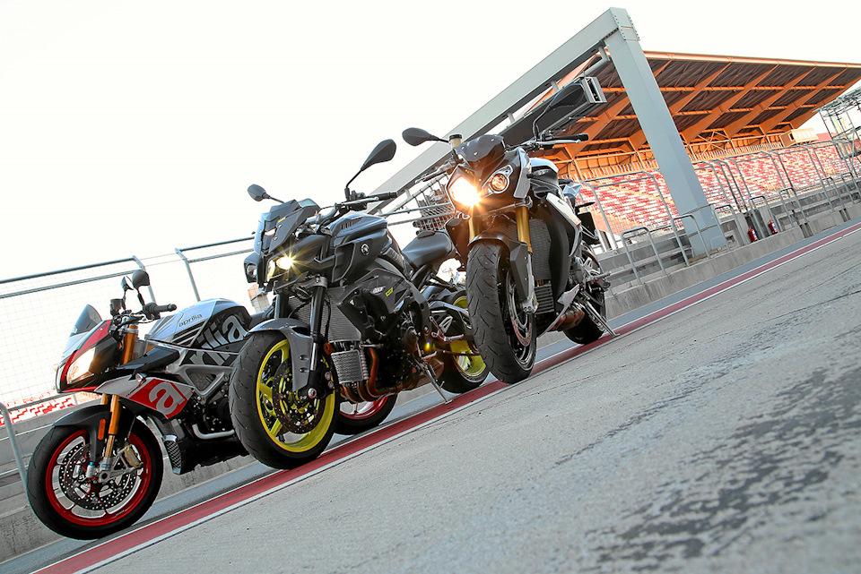 Aprilia Tuono V4 1100 Factory, Yamaha MT-10 и BMW S1000R