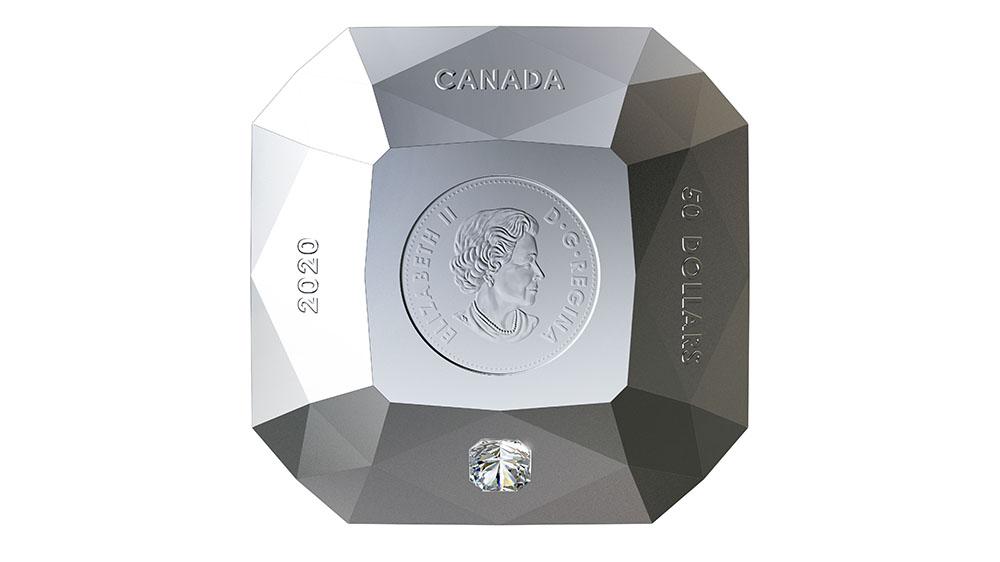 канадская монета в форме бриллианта