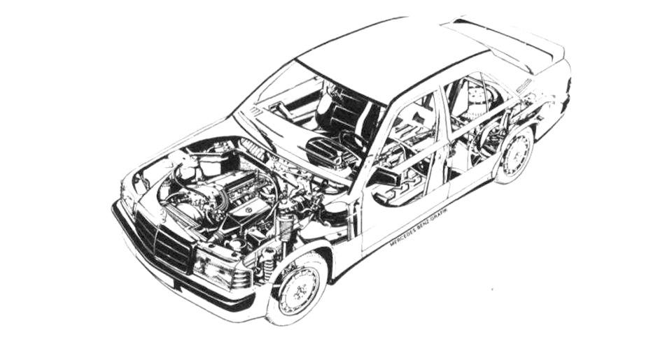 схема Mercedes-Benz 190E 2.3-16