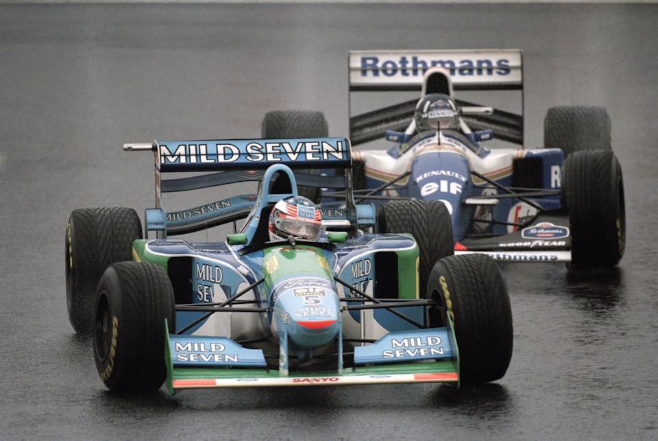 Гран При Японии '94. Дэймон Хилл (#0, Williams FW16B Renault) побил Михаэля Шумахера (#5, Benetton B194 Ford)