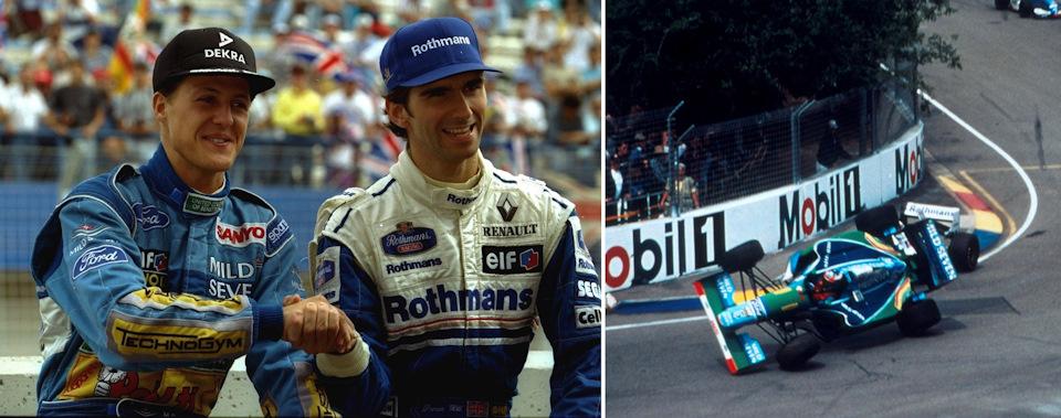 Шумахер и Хилл перед Гран При Австралии '94 (слева) и их столкновении во время гонки (справа).