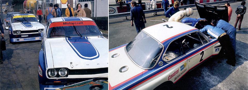 Заводская команда Ford (слева – Capri RS2600 экипажей Биррелл/Фитцпатрик и Масс/Шектер) приехала на первый этап Чемпионата Европы '73, проходивший в Монце, в ранге фаворитов, в то время, как в BMW Motorsport столкнулись с проблемами (справа – Тойне Хеземанс помогает механикам разобраться с двигателем 3.0 CSL).