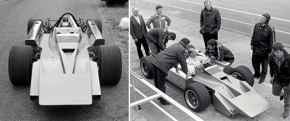 Слева: первоначальный вид Cosworth 4WD. Справа: Майк Костин, лично испытавший автомобиль на трассе в Сильверстоуне, беседует с Робином Хердом