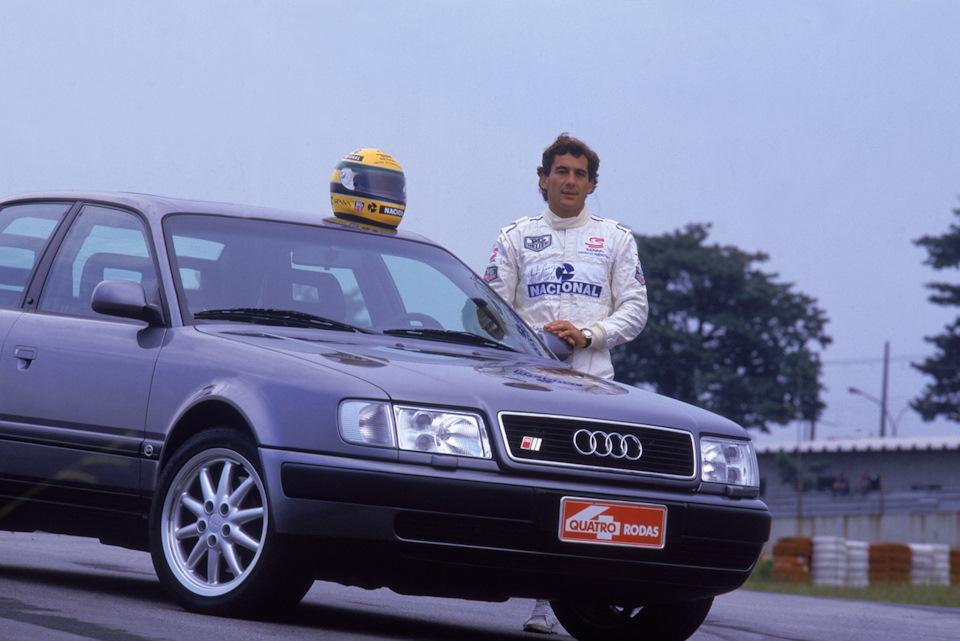 Сенна позирует с Audi S4 на тесте для журнала Quatro Roads