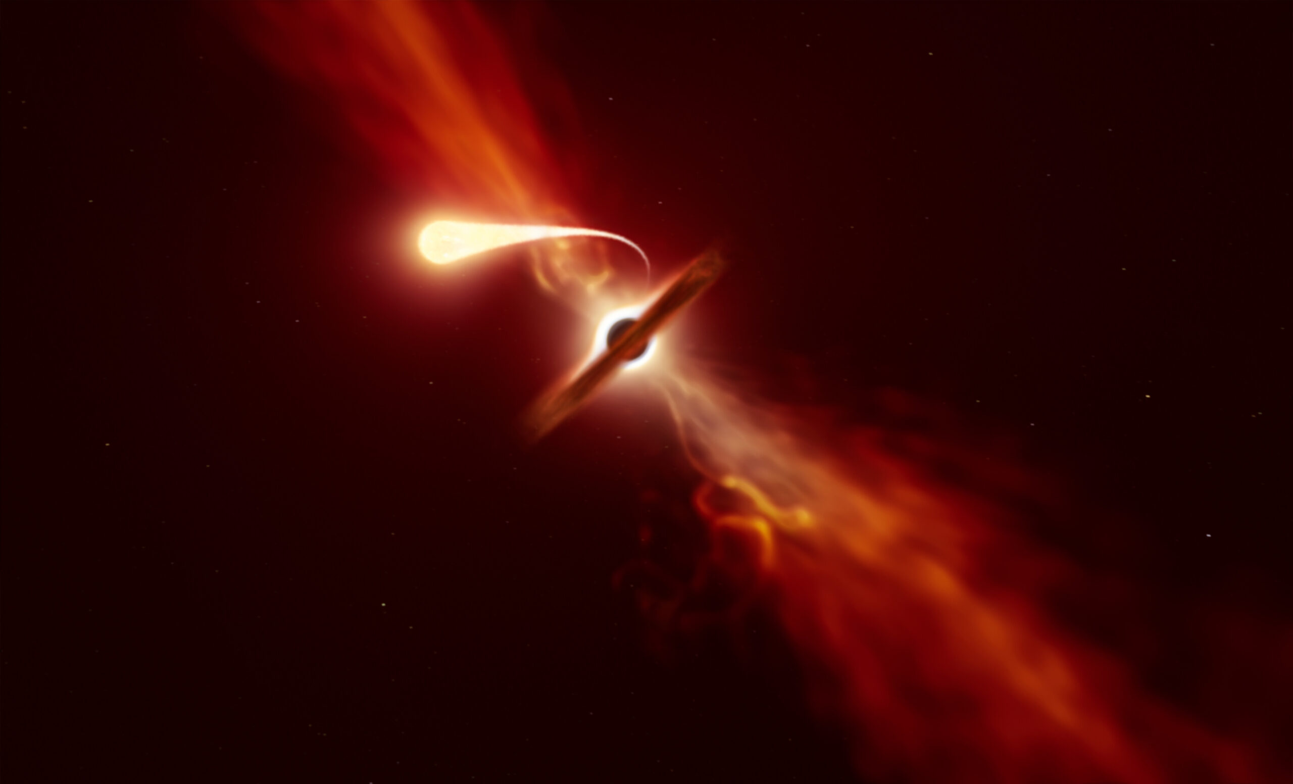 приливное разрушение звезды черной дырой
