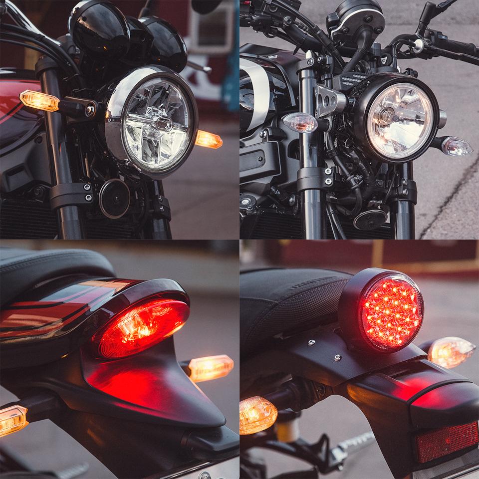 Светодиодная фара Kawasaki почти не выбивается из общей ретростилистики и отлично освещает дорогу.