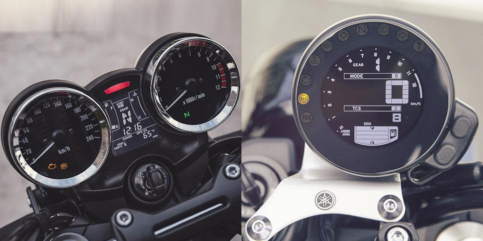 В Yamaha заигрывать со «старым временем» не стали и установили современную жидкокристаллическую панель