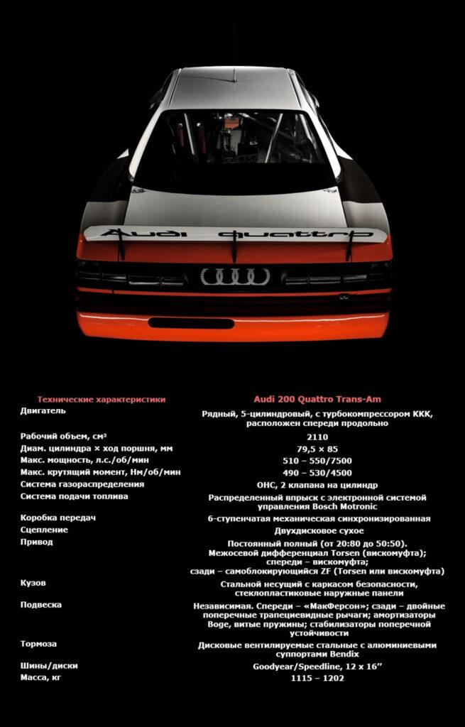 технические характеристики Audi 200 Quattro Trans-Am
