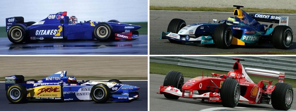 Слева – Оливье Панис на Ligier JS41 Mugen-Honda (вверху) и Михаэль Шумахер на Benetton B195 Renault (внизу); справа – Фелипе Масса на Sauber C24 Petronas (вверху) и Михаэль Шумахер на Ferrari F2003-GA (внизу).
