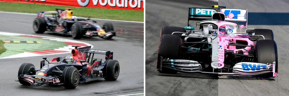 Слева – Себастьян Бурдэ на Toro Rosso STR03 Ferrari против Дэвида Култхарда на Red Bull RB4 Renault; справа – один из многочисленных коллажей, демонстрирующих сходство Mercedes W10 и Racing Point RP20.