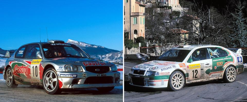 Экипажи МакРей/Сениор (слева, Hyundai Accent WRC) и Тири/Прево (справа, Skoda Octavia WRC) в ходе «Ралли Монте-Карло» '01