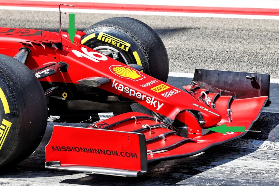 В Ferrari не стали жертвовать жетоном для кардинального изменения носового обтекателя, но нашли способ расположить стойки антикрыла уже