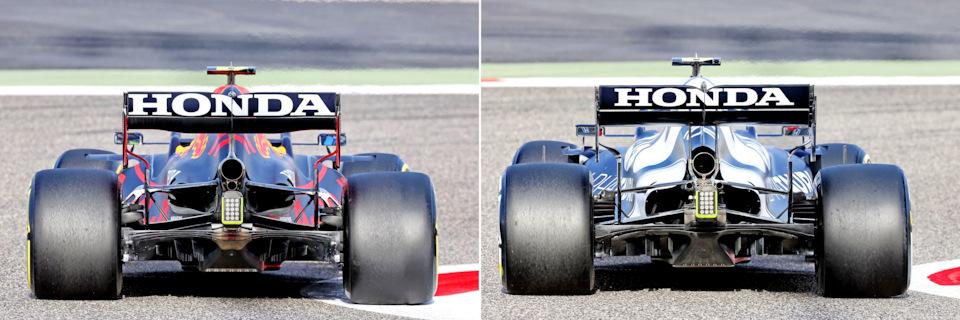 Насколько выше расположены рычаги верхние рычаги в новой Red Bull RB16B (слева) хорошо видно в сравнении с родственной AlphaTauri AT02 (справа). Обратите внимание на одну дополнительную выхлопную трубу на RB16B вместо двух на AT02.