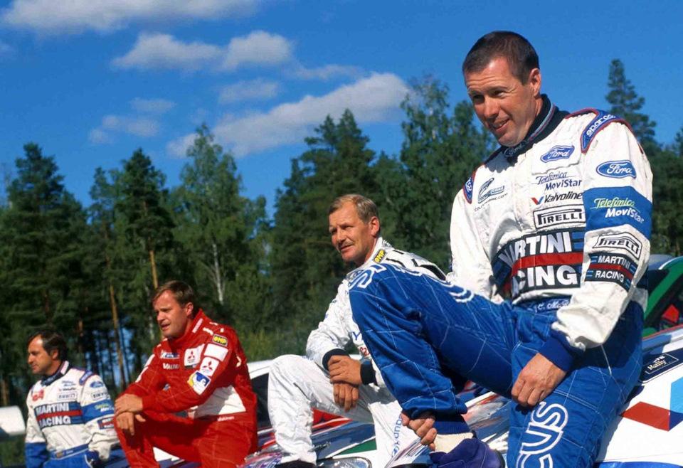 Рекордсмены Карлос Сайнс, Томми Мякинен, Юха Канккунен и Колин МакРей на «Ралли Финляндии» '01.