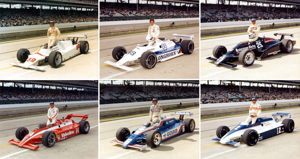 Разнообразие «Инди-500» '81. Верхний ряд: Кевин Коган (#32, Phoenix 80 Cosworth), Эл Анзер (#88, Longhorn LR02 Cosworth), Дэнни Онгаис (#25, Interscope 022 Cosworth). Нижний ряд: Эй Джей Фойт (#14, Coyote 80 Cosworth), Рик Мирз (#6, Penske PC9B Cosworth), Том Снева (March 81C Cosworth).
