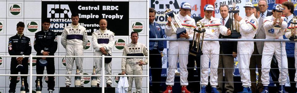 Дерек Уорвик – победитель BRDC Empire Trophy '91 в составе Jaguar (слева) и «24 часов Ле-Мана» '92 в составе Peugeot (справа).