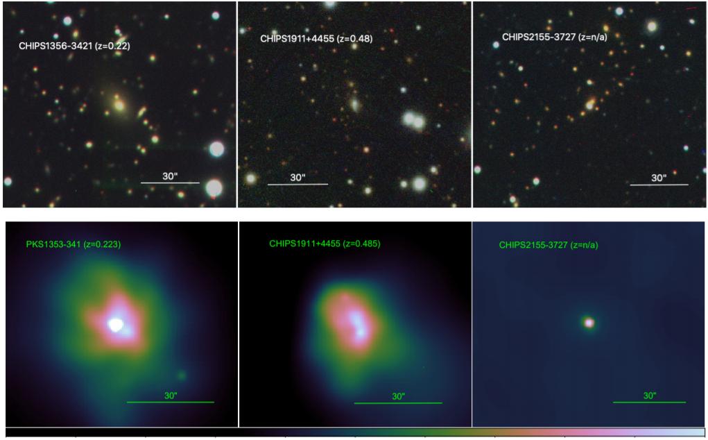 Оптические (вверху) и рентгеновские (внизу) изображения кандидатов в скопления галактик CHIPS1356-3421, CHIPS1911+4455 и CHIPS2155-3727
