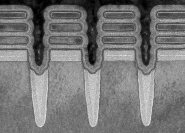 Снимок нового чипа, сделанный на просвечивающем электронном микроскопе